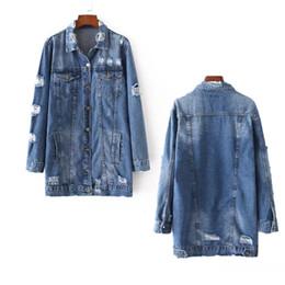 Wholesale Denim Jean Jacket Coat - Women Denim Jackets Hole Broken Boyfriend Style Long Sleeve Vintage Jean Long Jacket Loose Denim Jean Coat Spring Autumn