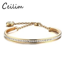 Wholesale Simple Elegant Gold Bangle - Fashion Jewelry Simple Elegant Crystal Bracelets & Bangles For Women With Heart Charm High Quality Rose Gold Stainless Steel Jewelry