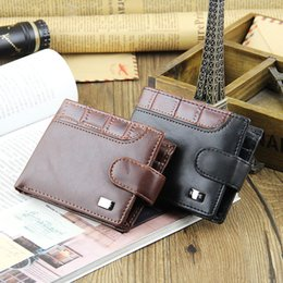 Wholesale Necklace Wallets - wallet necklace Hot sale Fashion Mens Leather Wallets Brand Quality Clasp Credit Card Holders Coin Purse Clutch Wallet For Men Free Shipping