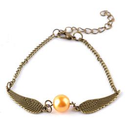 Wholesale Golden Bracelets For Men - quidditch golden snitch pocket Harry Charm bracelets wings Potter vintage retro tone for men and women wholesale zj-09040036