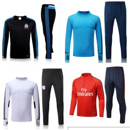Wholesale Windproof Sweater - 2018 Paris Soccer training suit sweatshirt and pants survetement 2016 2017 marseille Sweater Tracksuit Set Neymar JR Soccer Training Suit