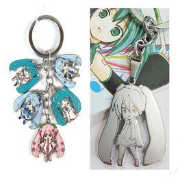Wholesale Hatsune Miku Anime - 1PC Anime Cartoon Miku Hatsune Pendant Keychain Zinc Alloy Metal Key Chain Keyring Key Ring For Men Women Christmas Gift