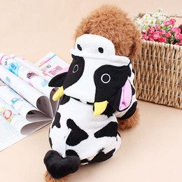 Wholesale Cow Fleece - Coral Fleece Cow Dog Coats Fall Winter Pets Suits Warm Comfort Wearing Cute Look 5 Sizes Available Four Feet Out Dressing