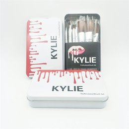 Wholesale Metal Bushes - Kylie makeup bush 12pcs set Kylie brush foundation blush powder makeup tools metal box top quality Kylie cosmetics