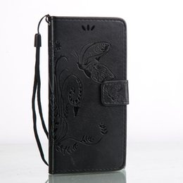 Wholesale Embossed Wallets - 10 pcs Lot Xperia X Cover Fashion Wallet PU Leather with Embossed Flowers Butterfly Flip Leather Cover for Sony Xperia X with Hand Strap