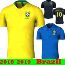 Wholesale Brazil Soccer - Top Quality 2018 2019 Brazil NEYMAR JR COUTINHO DAVID LUIZ Soccer Jerseys 18 19 Brasil COSTA SILVA JESUS RONALDINHO PELE Football Shirts