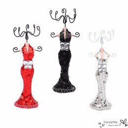 Wholesale Ring Mannequin Display - New Design Elegant Mini Exquisite Mermaid Mannequin Dress Lady Figure Jewelery Display Stand Necklace Chain Earring Ring Holder
