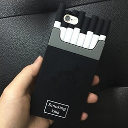 Wholesale Iphone Rubber Gel Covers - For iphone7 6S plus Soft Silicone gel Rubber phone cases 3D Smoking Kills Cigarette design back cover for iphone5 5S 4S Samsung with logo