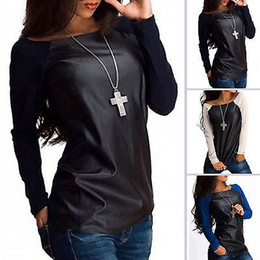 Wholesale Women Long Leather Sleeve Shirts - Wholesale- New Sexy Women Leather Long Sleeve Sweatshirt T-Shirt Casual Loose Tee TOP Tops 2016 fashion new style