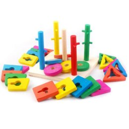 Wholesale Educational Pillars Toys - Five Pillar Topping-on Game Blocks Wooden Educational Toy for Kids game tee toy gun games