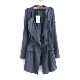 Wholesale Coat For Office Women - British Style Long Trench Coat For Women Spring&Autumn 2016 New Vintage Slim Fit Epaulet Embellished Office Coats Free Shipping