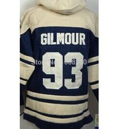 Wholesale Blue Logo Sweater - Wholesale 2014 new Maple Leafs Sweater 93 Doug Gilmour Blue Old Time Hooded Sweatshirts Embroidery logos M-XXL Mix Order
