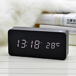 Wholesale Wholesale Wooden Clocks - Colors Sound Control Wooden LED Alarm Digital Desk Clock Square Wooden Clock Mini LED Digital Desktop Puzzle Alarm Clock Electronic Clocks