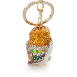 Wholesale Enamel Glaze Rings - Fashion 3D Owl Keyrings Keychains Crystal Rhinestones Enamel Glazing Key Chain Ring Holder For Car