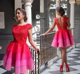 Wholesale Short White Ruched Graduation Dresses - 2016 Red Short Prom Homecoming Dresses Lace Applique Cap Sleeves A Line Tiered Pleats Colorful Cocktail Party Graduation Dresses BA2947