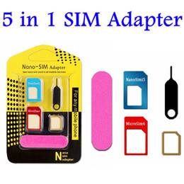 cell phone sim card adapter Canada - Aluminum Metal 5 in 1 Nano Sim Card Adapters Micro Sim Stander Sim Card Tool for iphone 6s 5s all cell phone Devices