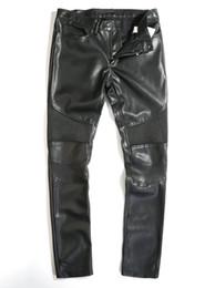 Wholesale Leather Pants 36 Men - Wholesale-2015 Fashion Autumn Winter Man Black Knee Patches Quilted lONG Leather Pants Men Biker Trousers size 36 to 44