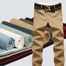 Algodão casual calças para homens on-line-9 Cor Algodão calças Dos Homens Clássico corredores Homens de alta qualidade Calças Casuais calças dos homens Calças Caqui Preta calças