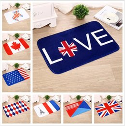 Wholesale Wholesale American Flannel - 15 Styles 40*60cm Flannel Carpet Australia USA UK Germany Canada Flag Serie Bedroom Kitchen Balcony Corridor Anti Skid Carpets CCA6922 50pcs