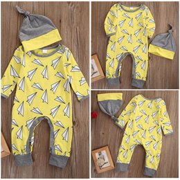 Wholesale toddler fashion hats - hot sale yellow baby rompers Toddler Infant children Boys Girls Bodysuit Jumpsuit Hat Outfits kite printed cotton kids fashion Set Clothes
