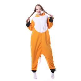 2017 Lady Adult Hooded Animal Pigiama Orange Fox Winter Pigiama Set Fleece Home Sleep Wear Abbigliamento Cosplay Halloween cheap pijamas costume da pijamas costume fornitori