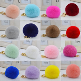 Wholesale Real Fur Accessories - Real Rex Rabbit Fur Balls PomPom Cell Phone Car Keychain Pendant Handbag Charm Key Ring plush key chain Bag Pendant keychain Bag Accessory