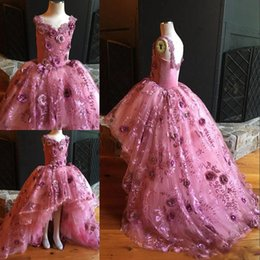 Wholesale New Stylish Girls - New Stylish Flowers Girls Pageant Dresses 2017 Nice Lace Applique Puffy High-Low Holy Communion Dresses For Girls Free Shipping