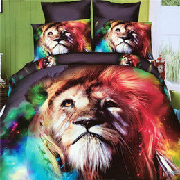 Wholesale White King Duvet Set - top Home Textiles 3D animal Reactive printing cotton 4 pcs bedding set duvet quilt cover bed sheet Pillowcase bedclothes
