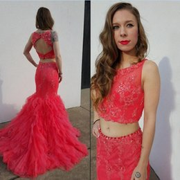 Wholesale Evening Dresses Watermelon - 2016 Popular Two Pieces Prom Dresses Watermelon Sheer Neck Sleeveless Open Back Mermaid Evening Party Gowns Beaded Lace Appliques Ruffles