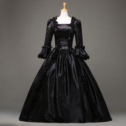2015 moda preto manga curta gótico vestido vitoriano vestido de festa de Halloween traje personalizado de