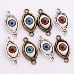 Wholesale Evil Eye Silver Charm - Evil Eye Hamsa Connector Charm Beads 50pcs lot 5Colors Antique Silver Bronze Connector For Friendship Bracelet L1662 Alloy