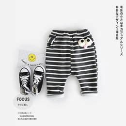 Wholesale Girls Warm Trousers - Hot Seller Baby Trousers Girls and Boys Warm Classic Striped Cotton Pants Autumn and Winter Kids Trousers