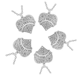 Wholesale Silver Tone Pendant Setting - Set of 5 Silver Tone Crystal Rhinestone Crystal Best Friends Heart Pendant BFF Necklace for Five Girls Sand Flower Jewelry