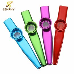Wholesale nickel plating brass - Wholesale- Simple Design Lightweight Kazoo Aluminum Alloy Metal For Guitar Instrument Music Lovers Instrument 4 Colors Optional