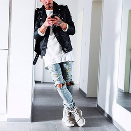Jeans großes loch knie online-Neue Herbst Distressed Skinny Ripped Hip Hop Jeans Herren Big Hole On Knie Swag Streetwear Kleidung Destroy Denim Pants