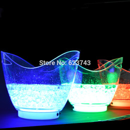 Wholesale Wholesale Bar Ice Buckets - Wholesale- New product 4 piece lot single color rechargeable luminous 8L LED ICE Bucket champagne beer ice bucket for bars decoration