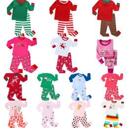 Wholesale Stripe Sleepwear - Baby Christmas Santa Deer Claus Pajamas Kids Cartoon Elk Homewear Sets Solid Long SleeveTops+Stripe Pants Sleepwear Autumn Clothes