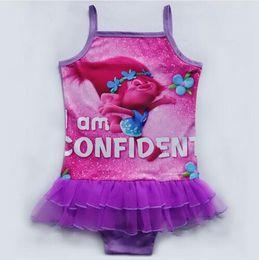 032c5913f7a 2017 new Trolls Baby Girls Kids Swimming Bikinis skirt type swimsuit one  piece lace sweet Bathing Suit Swimsuit Piece skirt