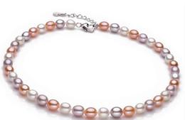8-9mm Weiß Rosa Lila Mischfarbe Natürliche Süßwasser Perlenkette 925 Silber Schmuck Für Frauen Geschenk von Fabrikanten