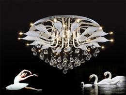 Wholesale Led Crystal Swans - Modern White Swans Ceiling Light Minimalist Fashion Creative K9 Crystal LED Swan Ceiling Lamp Hotel Living Room Office Light Fixture