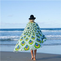 Wholesale Peacock Walls - Indian Round Peacock Print Tapestry polyester Round Beach Towels Yoga Mat Wall art Hanging Large Shawls Outdoor Pincnic Throw Blanket BKT088