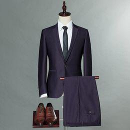 Wholesale Tuxedo For Dinner - New Purple Tuxedos For Men with Black Satin Lapel Mens Wedding Tuxedos for Groom Dinner Pop Mens Suits Jacket Blazer (Jacket+Pants)