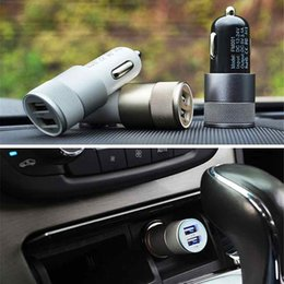 Wholesale Gps For Pc Usb - Auto Universal Metal Aluminium 2.1A Dual 2 Port USB Car Charger Adapter for iPhone 6 6S 5 iPad iPod Samsung HTC LG GPS Tablet PC