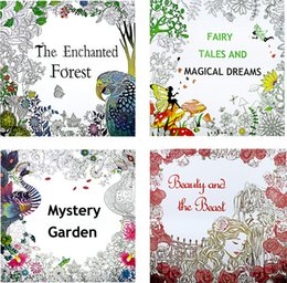 Coloring Books 4 Designs The Enchanted Forest Myster Garden Fairy Tales And Magical Dreams Beauty Beast Painting On Sale