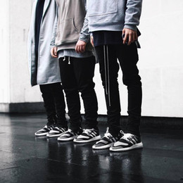 Wholesale Justin Bieber Jogging Pants - 2016 Autumn spring New fashion west jogger pants for mens Justin Bieber slim jogging trousers Plus size S-XL