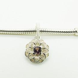 Flor de metal cuentas de esmalte online-Sterling Silver 925 Beads Charms Forma de la flor Primavera con Soft Pink Enamel y Clear Cz 2016 Estilo de la manera Flower Beads Charms
