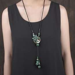 Wholesale Jade Ornaments China - 2017 Sweater chain, long paragraph personality wild necklace, simple fashion pendant, retro ornaments ornaments, accessories decorations
