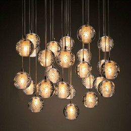 Lluvia de meteoros colgante de luz online-Modern Bubble Crystal Chandeliers Lighting G4 Led Bulb Light Meteor Rain Drop Ceiling Luces colgantes Meteoric Shower Stair Light 110V 220V