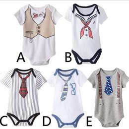 Wholesale tie neck jumpsuit - Cotton Navy tie newborn baby Romper sailor infant Jumpsuit toddler kids child one-piece clothes children summer outwear outfits