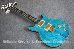 Wholesale Electric Guitars Santana - Custom 24 Private Stock Santana Blue Tiger Flame Maple 25th Anniversary Electric Guitar Ebony Fingerboard Abalone Binding & Birds Inlay